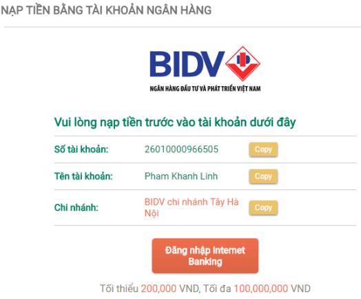 Hướng dẫn nạp tiền sau khi đăng ký tài khoản Loto188