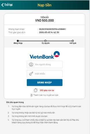 chuyển khoản nhanh Vietinbank