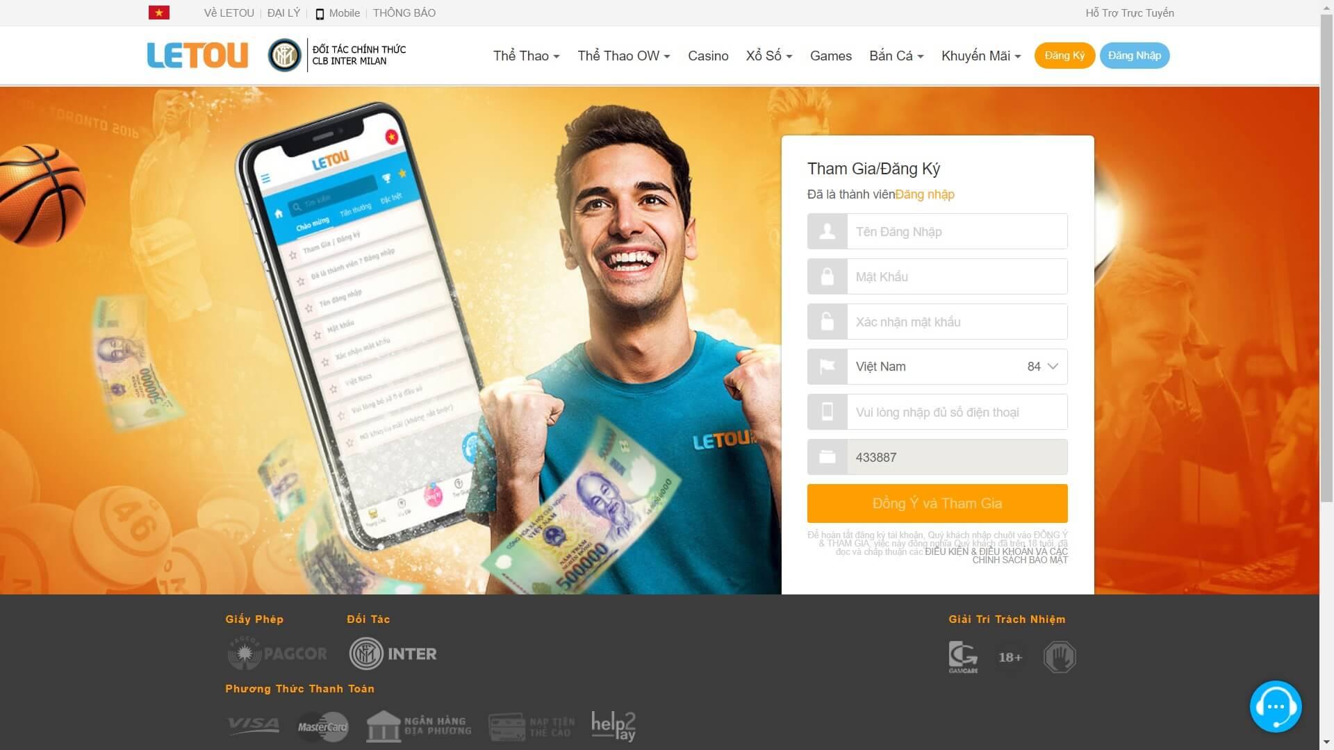 đăng ký tài khoản nhà cái letou