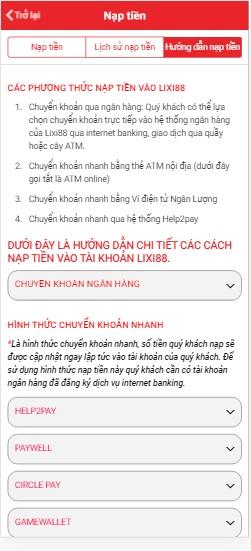 hướng dẫn rút tiền lixi88