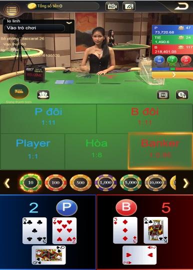 Giao diện chơi Baccarat loto188
